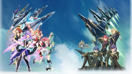 Walkure VS Aerial Knights - Guynemer, Keith, Qasim, Mikumo, Smile, Prowler, Windermere, Mecha, Fighter Pilots, Sky, Keith Aero Windermere, Aero, Red Hair, Freyja, Mikumo Guynemer, Nakajima, Clouds, Purple Hair, Theo, Kaname, Jets, Eberhart, Anime Guy, Freyja Wion, Anime, Qasim Eberhart, Cross, Green Hair, Singers, Reina Prowler, Herman Cross, Walkure, Reina, Blue Hair, Bogue, Blonde, Aerial Knights, Herman, Jussila, Makina Nakajima, Redhead, Buccaneer, Bogue Con-Vaart, Macross Delta, Wion, Kaname Buccaneer, Con-Vaart, Big Eyes, Makina, Theo Jussila, Anime Girl