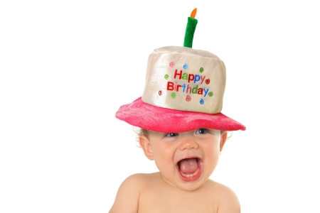 Happy Birthday! - cake, smile, birthday, baby, mood, hat, card, cute, boy, copil, child, funny, surprised, white