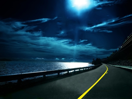 THE LONG ROAD - abstract, sky, clouds, sea, dark, moonlight, nature, road, blue