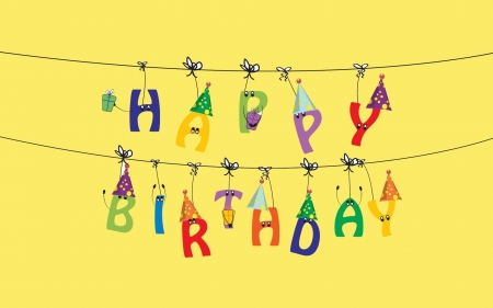 Happy Birthday! - colorful, yellow, birthday, card