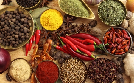 Spices - photo, red, food, ginger, walnut, spices, spice, pepper, garlic
