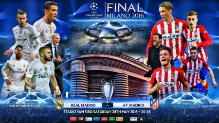 REAL MADRID - ATLETICO MADRID CHAMPIONS LEAGUE FINAL 2016 - REAL MADRID, CHAMPIONS LEAGUE FINAL, CHAMPIONS LEAGUE FINAL 2016, gareth bale wallpaper, cristiano ronaldo wallpaper, san siro, gareth bale, CHAMPIONS LEAGUE wallpaper, CHAMPINS LEAGUE FINAL 2016, football wallpaper, ATLETICO MADRID wallpaper, er, san siro wallpaper, madrid, zidane, cristiano ronaldo, torres, REAL MADRID wallpaper, CHAMPIONS LEAGUE, ATLETICO MADRID