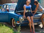 girls and a gaz volga