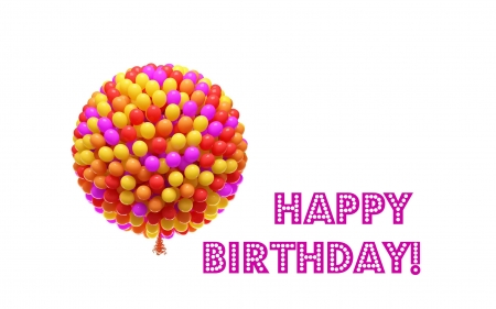Happy Birthday! - colorful, orange, yellow, by cehenot, birthday, card, balloon, white, pink