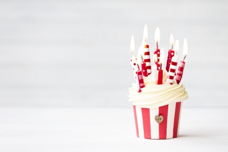 Happy Birthday! - red, candle, stripes, food, birthday, sweet, dessert, card, cupcake, white, cream