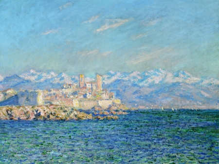 Fortress - art, Claude Monet, sea, painting, summer, fortress, impressionism, white, pictura, blue