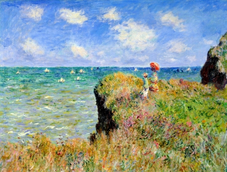 Landscape - art, cloud, Claude Monet, wind, umbrella, sky, mother, sea, water, green, painting, summer, child, pictura, landscape, blue