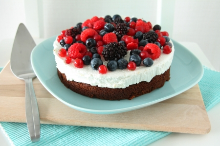 Cheesecake with Berries - delicious, food, blackberry, fruits, sweet, dessert, fruit, berry, raspberry