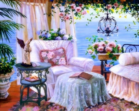 Seaside Terrace - paintings, attractions in dreams, seaside, flowers, getaways, love four seasons, colors, views, terrace, summer