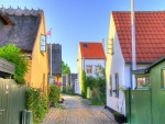lovely side street in a danish town hdr