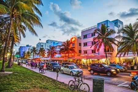 south beach hotel row at dusk hdr - hotels, city, dusk, neon, hdr, street