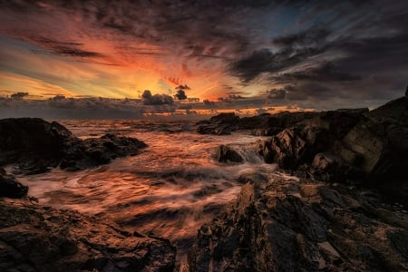 Sunset - nature, sunset, clouds, sky, sea, sea view