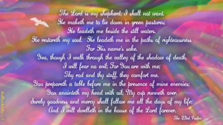 The 23rd Psalm (Warm Pastels: Variation 2) - colorful, Shepherd, comfort, Bible, peace, pastels, Lord, multicolored, pastures, Good Shepherd, God, sa1vation