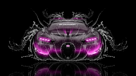 pink car - water, beautiful, pink, car