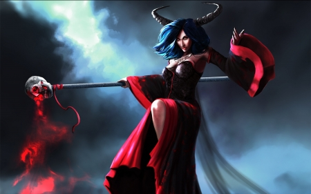 Witch - red, witch, art, halloween, game, woman, horns, demon, fantasy, girl, magical, devil, skull, blue