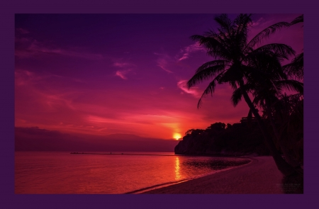 Thailand Sunset - red, exquisite, orange, magenta, yellow, sunset, beach, purple, gorgeous sunset, peaceful, pink