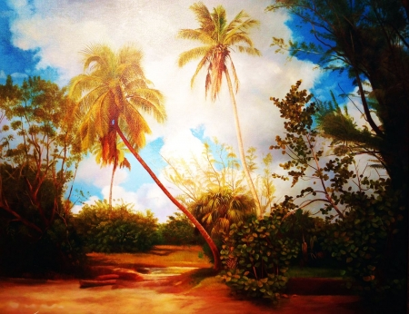 Southern Woods - beach, palmtrees, painting, clouds, sky, artwork