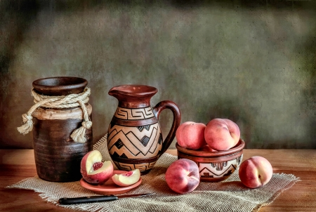 Pottery and Fruit Still Life - art, beautiful, artwork, knife, still life, pottery, peaches, painting, wide screen