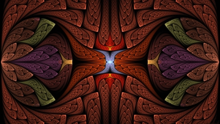 Symmetry Art - pattern, red, art, copper, symmetry, black, gold, green, purple, blue