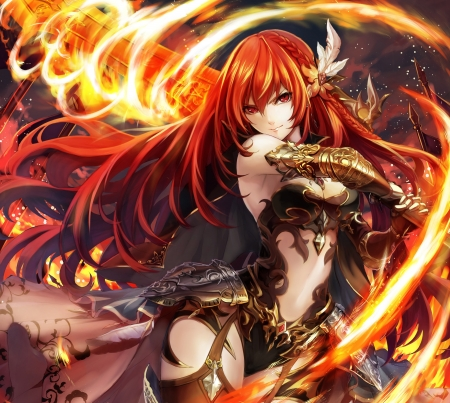 Fire sword other anime background wallpapers on - Anime girls with fire ...