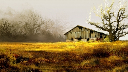 Old Barn and Tree - fall, autumn, grass, trees, barn, painting, field, Firefox Persona theme, vintage