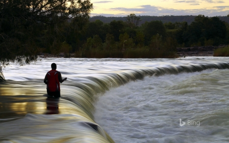 Man fishes in the Ord River at Kununurra Western Australia - Ord, The, Man, River, Fishing, In