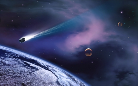 asteroid approaching earth - moon, asteroid, earth, space
