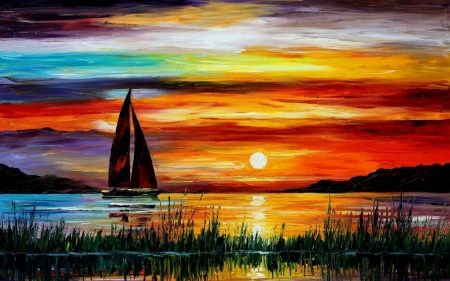 Sunset  painting - sailing, colour, sunset, river