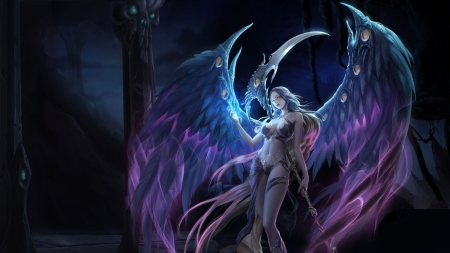 Angel Warrior - female, fantasy, angel, dark