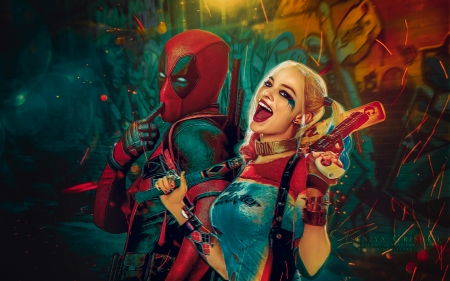 Deadpool (2016) - red, marvel, wade, harley quinn, movie, margot robbie, comics, man, woman, fantasy, girl, green, deadpool, Ryan Reynolds