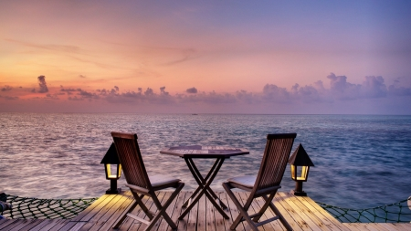 Beautiful Evening - romantic, view, ocean, summer, chairs, evening, sea