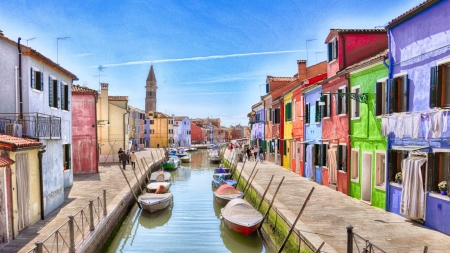 Burano-Italy - architecture, colorful, houses, venice, burano, italy