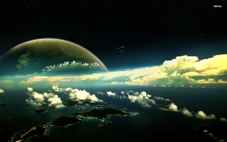 horizen - ocean, clouds, planet, country, space