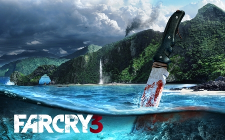 Far Cry III - open world, ocean, video game, game, Far Cry 3, knife, water, gaming, mountains, waterfall, island, magnificent, realistic, Far Cry III