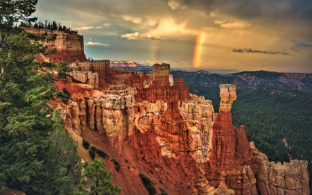 Rainbow over Bryce Canyon,Utah - Rainbow, Canyon, Rocks, Nature