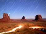 Still image of tim lapsed night sky and lights in Monument Valley Navajo Tribal Park Utah
