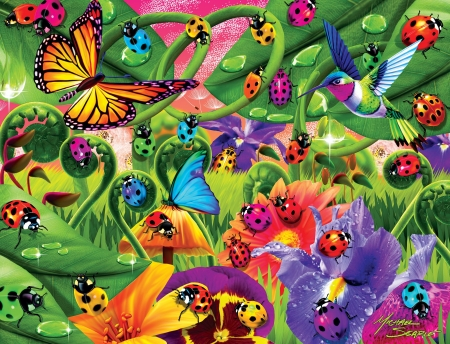Master Piece - piece, puzzles, butterflies, ladybugs, master