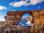The Azure Window natural stone arch near Dwejra Beach Gozo Malta