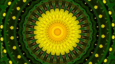 Dandelion Sunshine - dandelions, co11ie, yellow, abstract, go1d, kaleidoscope, kaleidoscopes too1, dandelion, green, sunshine, golden yellow