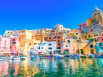 sun drenched colorful seaside town