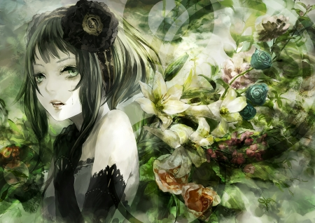 Gumi - vocaloid, kunimura hakushi, rose, manga, gumi, girl, green, anime, flower, face