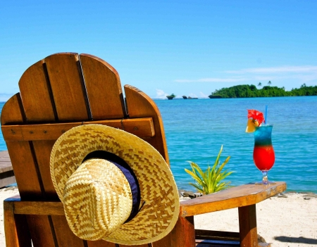 My Dream Vacation - sun, vacation, ocea, drink, chair, dream, screen, hat