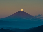 moon over mount fuji