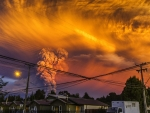 marvelous sky at the eruption of volcano in chile