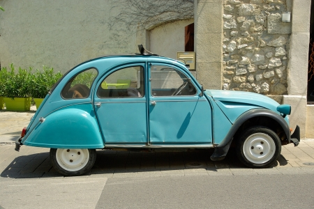 Citroen 2 CV - old, car, citroen, blue, france, cult car