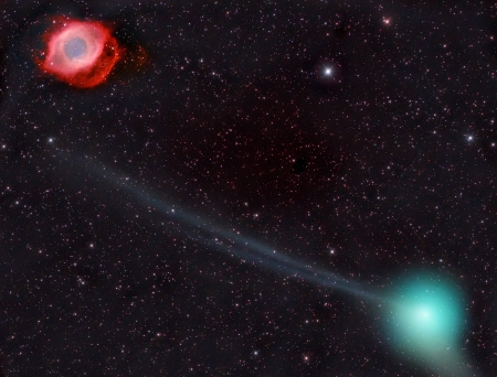 Comet PanSTARRS and the Helix Nebula - stars, fun, nebula, cool, galaxy, space, comet