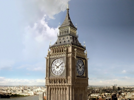 Big Ben - clock tower, Great Bell, London, ancient, Architecture, Palace of Westminster, Big Ben, England