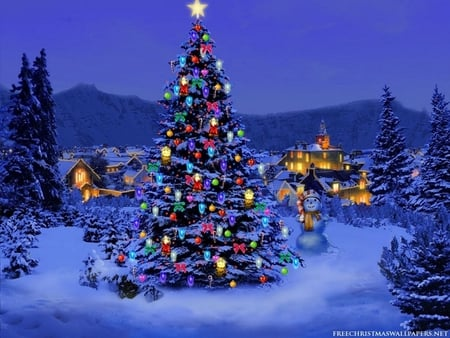 3D Christmas Tree - evergreens, christmas, christmas tree, tree, mountains, star, 3d, tree lights, snow, holiday, xmas, night, decorated