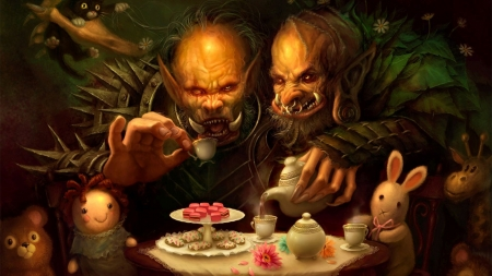 trolls drinking tea - teapot, doll, tea, troll