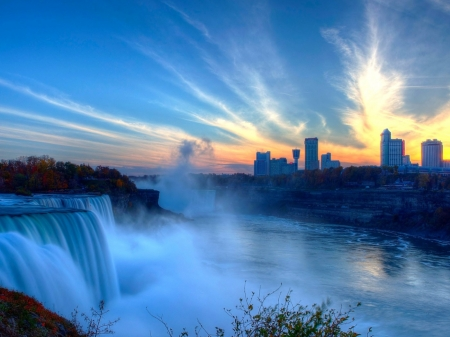 Niagara Falls - house, waterfall, nature, river, sunset, spray, sky